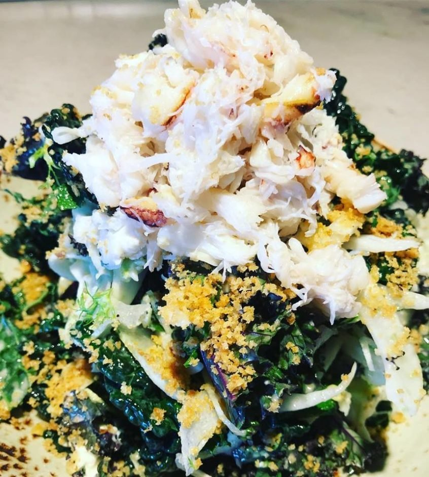 kale and Dungeness crab
